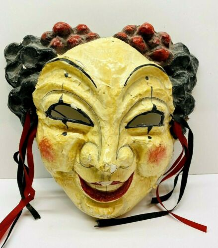 """Vintage Masque Arrayed  Sausalito CA, Hand Made Paper Mache Mask 11"""" X 10"""""""
