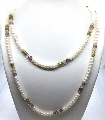 Perlenkette mit Amethyst, Blautopas, Citrin und Peridot 14K 585er Gelbgold TOP (Blau Und Gold Perlen)