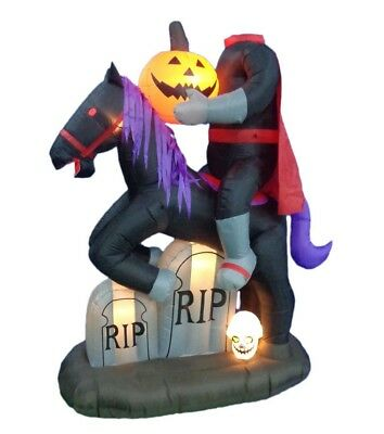 Halloween Air Blown Inflatable Yard Decoration Headless Horseman Pumpkin & Skull - Skull Halloween Yard Decorations