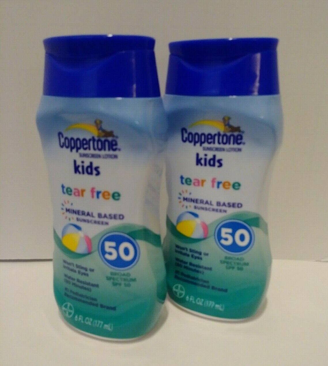 TWO PK Coppertone Kids Tear Free Mineral Based SPF 50 Sunscr