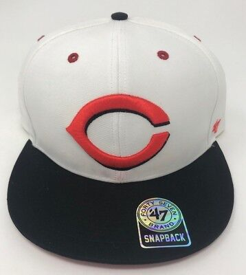 Cincinnati Reds MLB 47 Brand Oath White Snapback Authentic - 47 Brand Blank Hats
