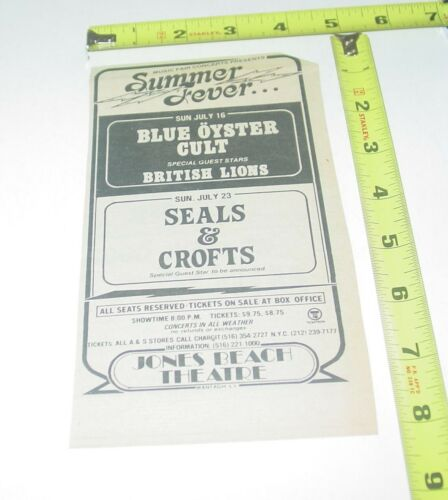 Blue Oyster Cult Seals Crofts Concert AD Advert Jones Beach Theater Wantagh NY