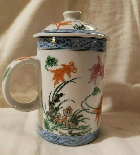 Lotus Blossom & Koi Ceramic Mug for Tea or Coffee - Lid included - No infuser