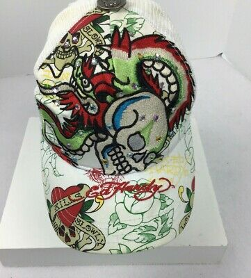 Hardly Davidson Women Mesh back Snap back Rhinestone White Skull Floral Hat Cap Rhinestone Mesh Back Cap