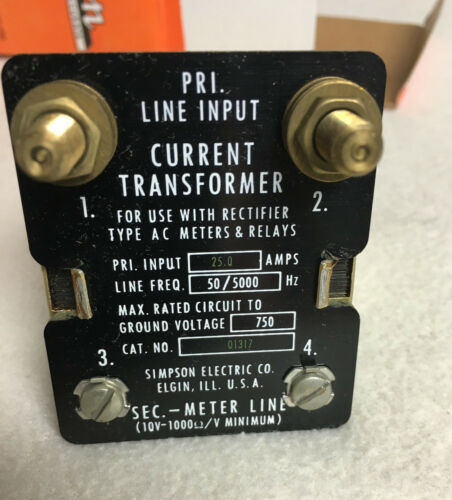 Simpson Model 186 Current Transformer 25A Cat. Number: 1317 01317