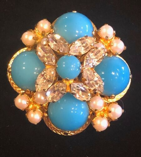 Vintage Christian Dior Faux Turquoise, Pearl and Crystal Cabochon Brooch