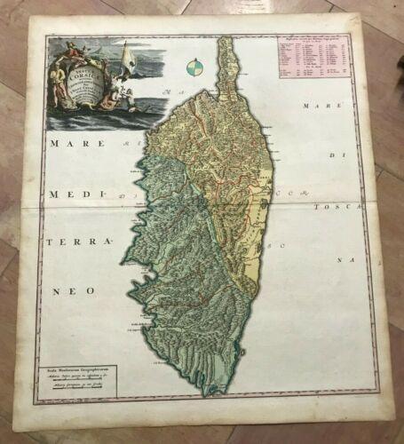 CORSICA FRANCE 1735 by HOMANN HRS LARGE NICE ANTIQUE MAP 18e CENTURY