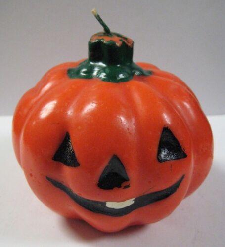 """Vintage Jack-O-Lantern Figural Shaped Candle Halloween Pumpkin 4"""" x 3.5"""" UNUSED"""