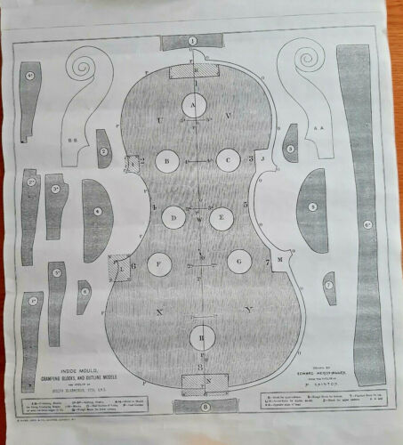 2 Sheets of Full Size Violin Plans printed by Ward Lock and Company Strativari