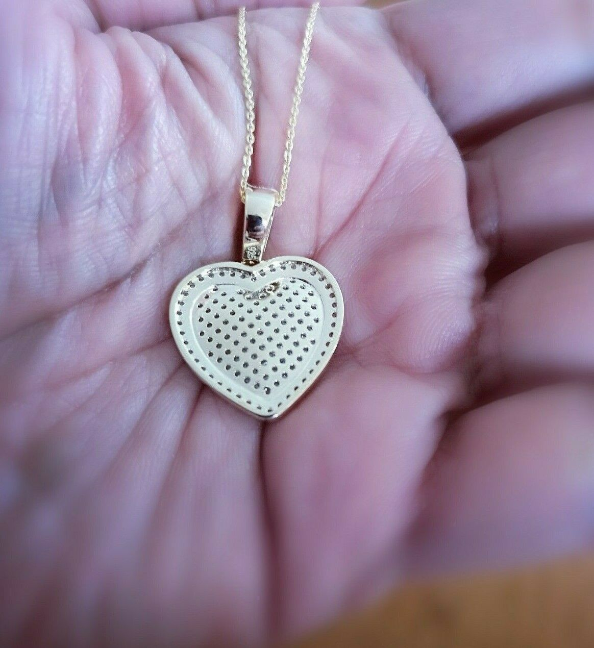 1 Ct Diamond Pendant Womens Necklace Heart Shape in 14K Yellow Gold over Chain 6