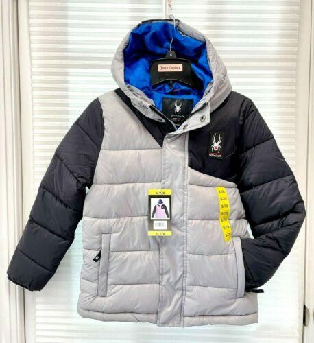 NEW Spyder Boys Kids Youth Nylon Puffer Gray Black Hooded Winter Jacket - NWT