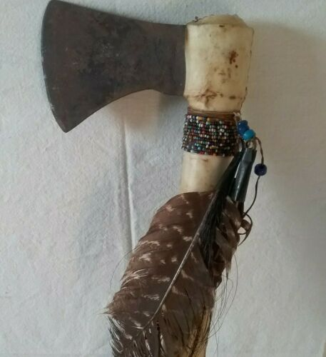 Antique Sioux Native American Indian Tomahawk w/Feathers Glass Beads & Rawhide