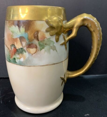 Antique Jean Pouyat Limoges Hand Painted Gold Gild Dragon Handle Tankard Signed