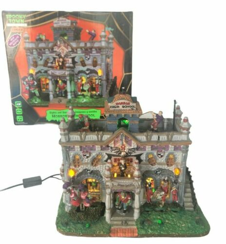 Lemax Spooky Town Horror High School Animated Lights Sounds Orig Paperwk Retired