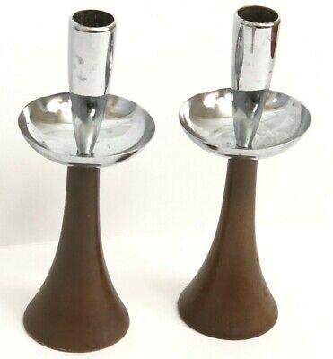Vintag Mid Century Modern 50s Candle Stick Holders Pair Brown Wood Metal