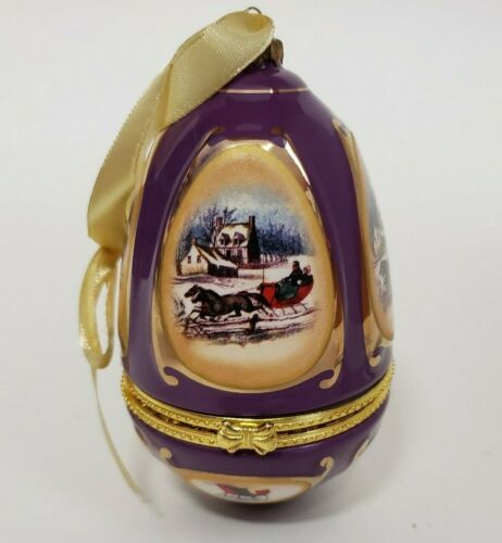 Mr Christmas Musical Egg Ornament Sleigh Ride It Came Upon Valerie Parr 2008