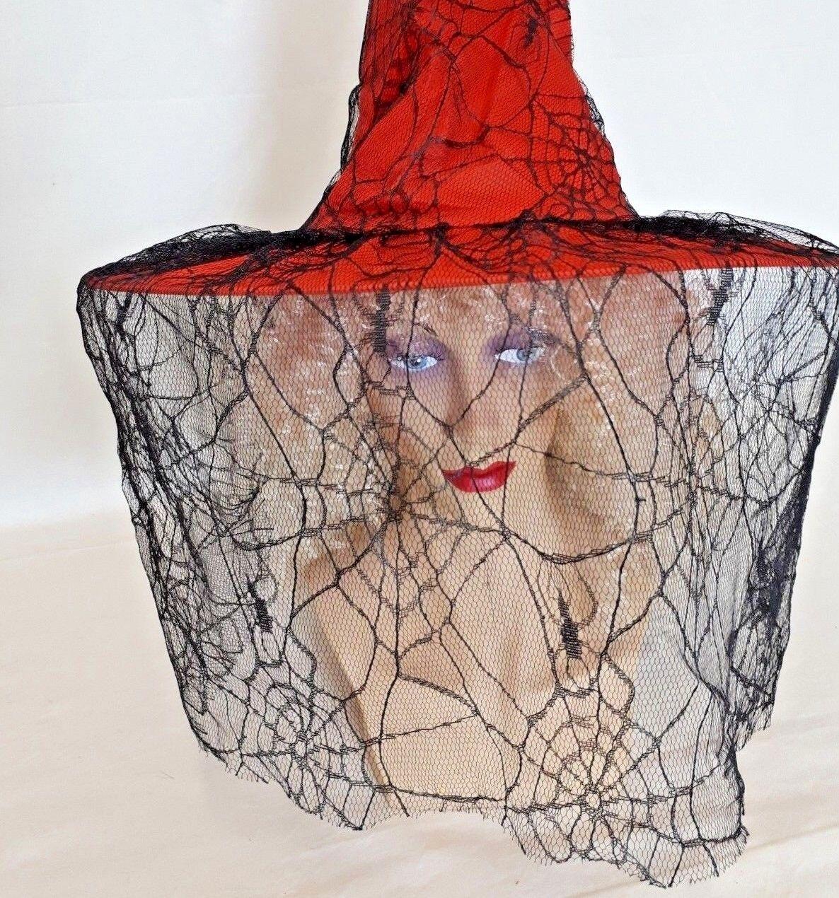 Hexenhut in rot mit Spinnennetz-Schleier schwarz Hexenkostüm 129269813