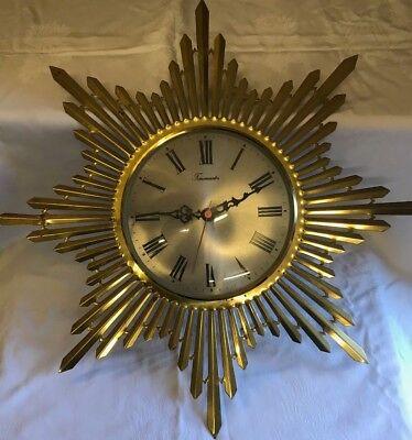 VINTAGE TIMEMASTER SUNBURST CLOCK 1960/70's. for sale  Shipping to Nigeria