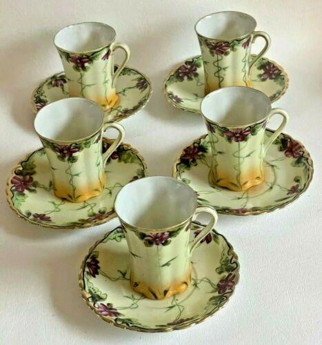 Antique/Vintage Set of 5 Hand Painted Nippon Demitasse Floral Tea Cups & Saucers