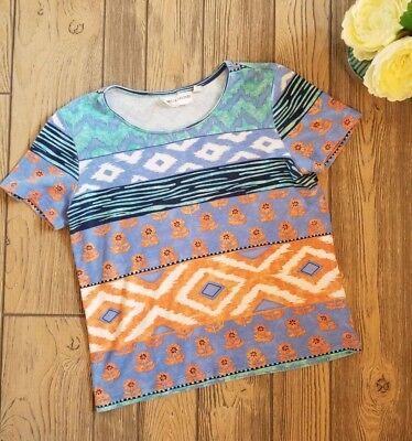 Women's REBECCA MALONE Blue Orange Flower Print 90s Style Tee T-Shirt Sz Small