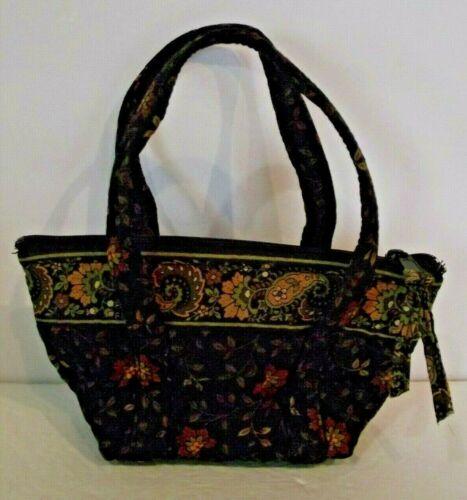 Vera Bradley Make Up Bag Mini Purse Black Walnut Design Zip Closure Handles