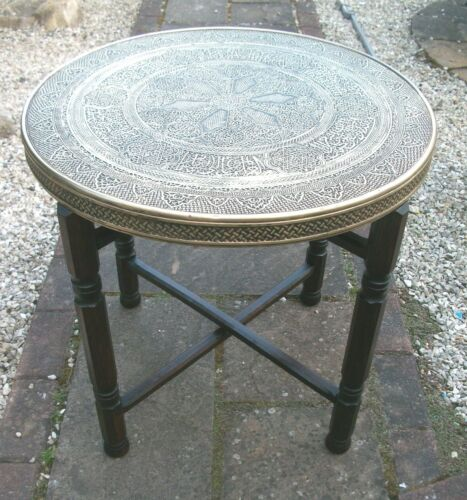 ANTIQUE ISLAMIC   FOLDING  SIDE TABLE  WITH BRASS COVERED TOP
