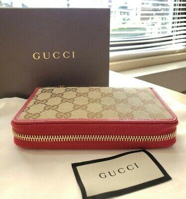 NWT Gucci women's GG original Beige Logo Canvas Leather Red zip around Wallet
