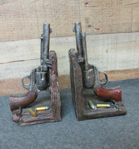2 Vintage Enesco Gun Pistol Bookends Spanish Leather Rare Man Cave