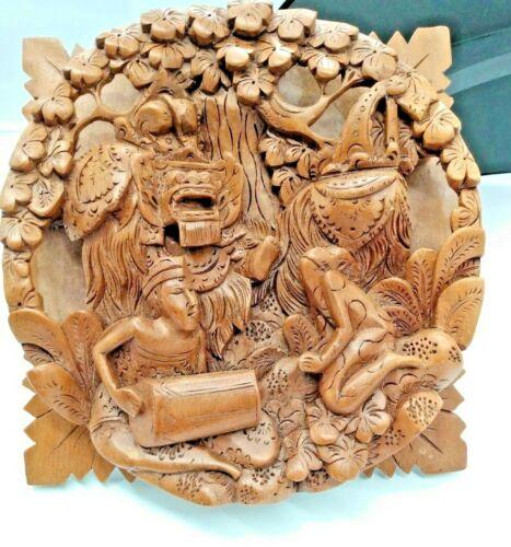 Rare Vintage Polynesian Wood Carving - Tiki God, Merman & Reptile Man