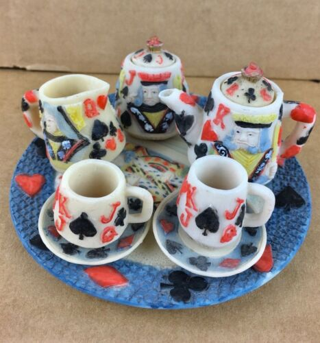 Popular Imports Decorative Miniature Tea Set Cards King Queen Hearts 10 Pieces