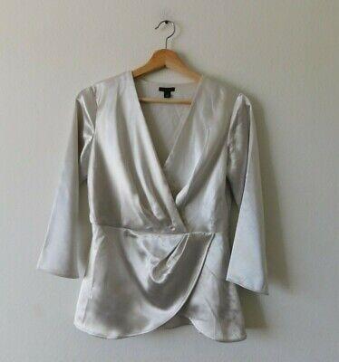 New ANN TAYLOR flowly silver silk blouse top  M