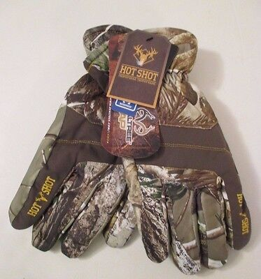 NWT REALTREE HOT SHOT INSULATED Brown Camo Hunting Waterproof GLOVES~Size L