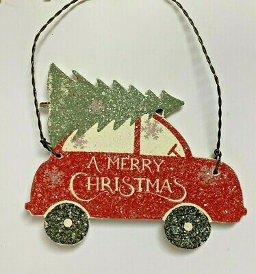 5 CAR WITH TREE CHRISTMAS ORNAMENT