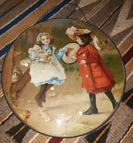 Antique Glass Chimney Flue Cover - Children Jumping Rope & Kitten & Chickens *