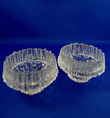 2 Iittala Stellaria Crystal Art Glass Candle Holders Finland Tapio Wirkkala