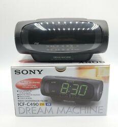 Sony Dream Machine Dual Alarm FM AM Clock Radio ICF-C490 Black Original Box