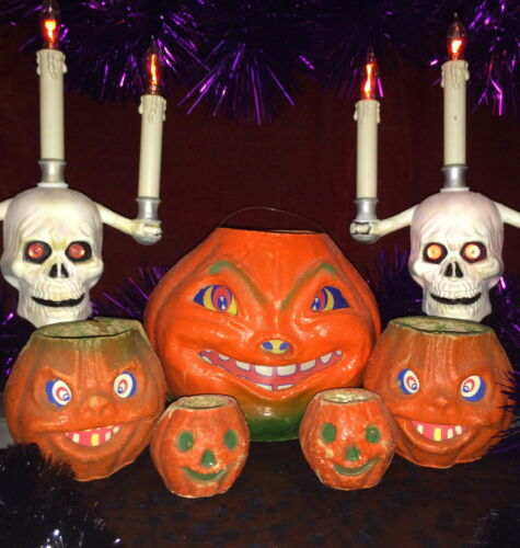 Lot of 5, 30s, 40s Halloween Jack ~O~ Lanterns, 1 Very Large, 2 Med, 2 Nut Cups
