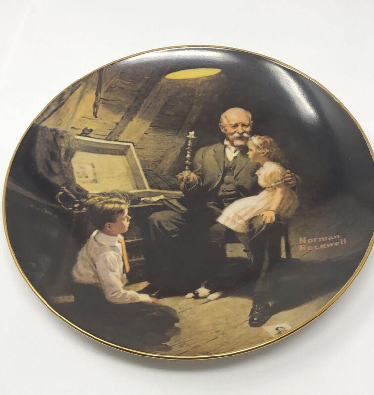 Norman Rockwell Plate Grandpa's Treasure Chest #6946U Light Campaign Series USA