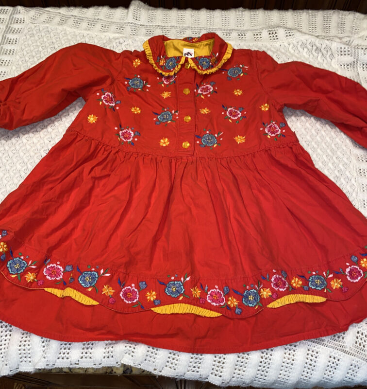 Vintage Oilily 98 Floral Embroidered Girls Dress Red