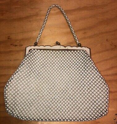 1940s Handbags and Purses History Vintage 1940s Whiting & Davis Co Ivory Mesh Handbag With Snake Link Handle $36.00 AT vintagedancer.com