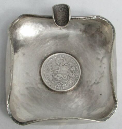 1871 & 1867 PERUVIAN COIN HAND MADE HEAVY STERLING SILVER ASH TRAY
