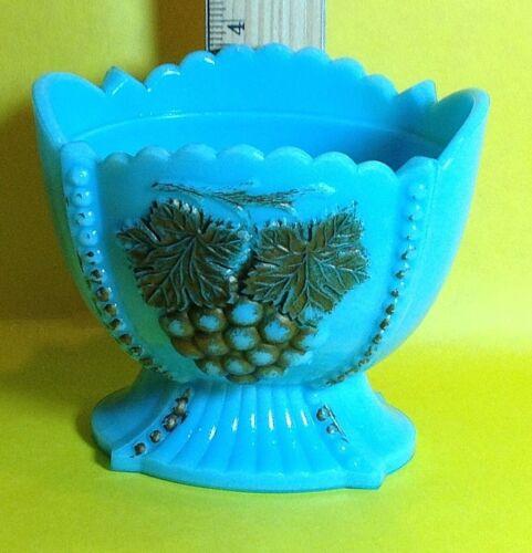 Vintage Turquoise Blue Milk Glass Candy Trinket Dish w/Grape Design,#3 on Bottom