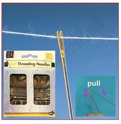 24 Pack Self Threading Needles Set Sewing Art Craft Easy to Use