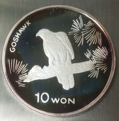 10 Won 2004 Korea Silver 999, GOSHAWK BIRD, 1 Oz. FAUNA Ounce, Proof, Scarce !!