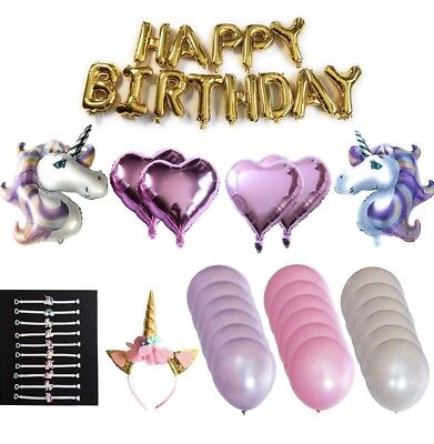 Unicorn Balloon Happy Birthday Party Decorations Balloons Headband Supplies