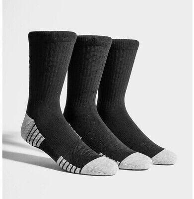 Under Armour UA HeatGear Black Training Crew Socks - 2 Pairs - Size Medium