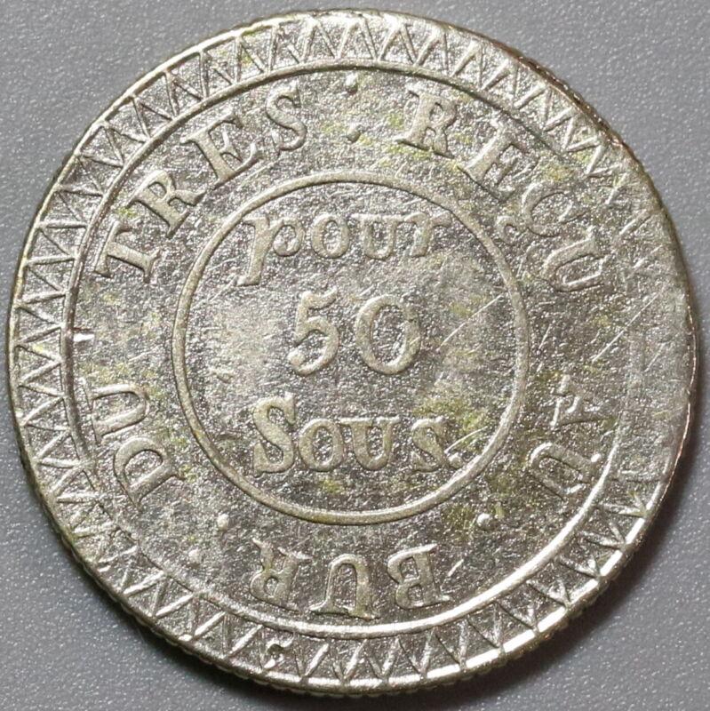 1822 Mauritius 50 Sous Contemporary Coin (19092402R)