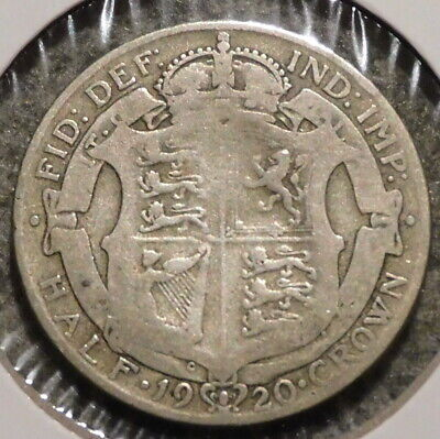 British Silver Half Crown - 1920 - Overstock Sale! - $1 Unlimited Shipping -026