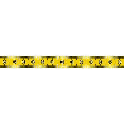 Skalenbandmaß Stahl 0 mittig Nullpunkt zentral 13mm gelb Duplex selbstklebend (Maßband Ende)