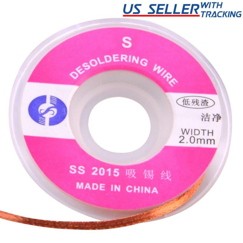 5pcs 1.0M x 2.0mm Desoldering Wick Pure Copper Braid Solder Removal Wire 5m/16ft